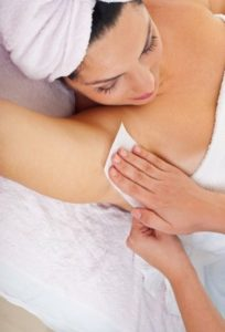 Underarm waxing at fringe benefits beauty salon in gloucester